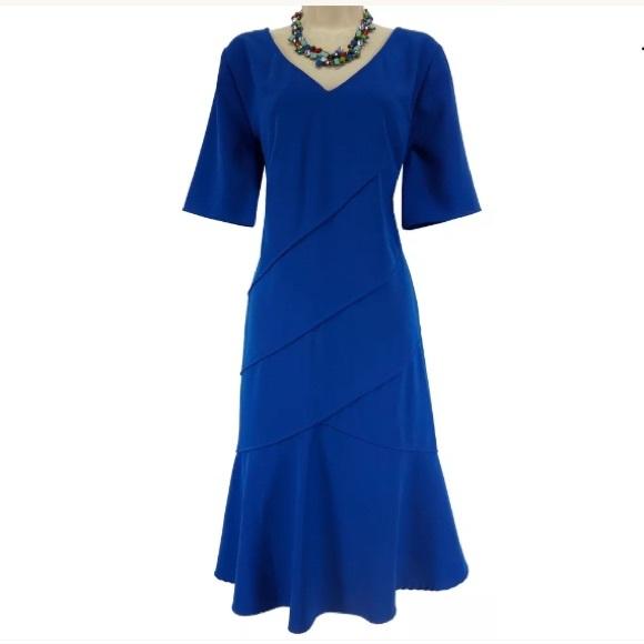 London Times Dresses 14w 1xsexy Royal Blue Tiered Dress Plus Size